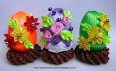 Výsledok vyhľadávania obrázkov pre dopyt Easter egg satin kanzashi style narcisse ladybird green white spring