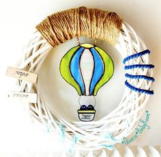 Baby air balloon home decorationbaby boy wreathbaby by Quorin