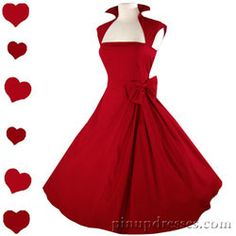 New Red Retro 50s Style Full Skirt Swing Dress. I could rock this dress like no ones business!