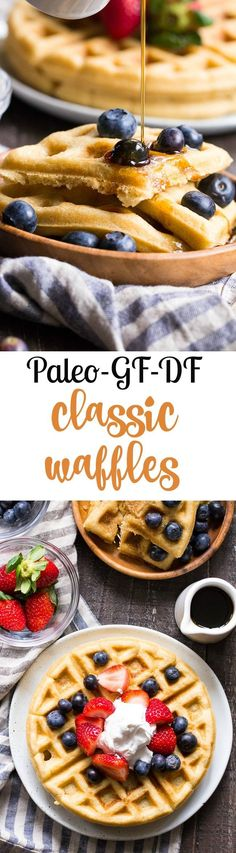 https://paleo-diet-menu.blogspot.com/  These classic paleo waffles are crisp on the outside, soft and fluffy on the inside, freezable, and family approved! Gluten free, grain free, dairy free, refined sugar free, and easy to make. #PaleoDietMenu