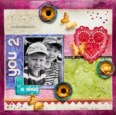 LO with mixed media background. (made in a workshop instructed by Birgit Koopsen). By Elina Stromberg #scrapbooking #MixedMedia