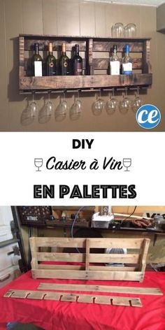 Wood Pallet DIY Wood Pallet Wine Rack - Kitchen wall decor ideas'll make the space more than just a place to whip up a meal. Find the best designs! Give your kitchen a pop of personality! Diy Wood Pallet, Wood Pallet Wine Rack, Pallet Crafts, Diy Pallet Projects, Home Projects, Diy Crafts, Wood Crafts, Rustic Wine Racks, Wood Pallets