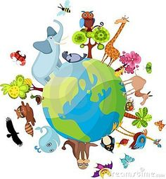 Illustration of animal planet vector art, clipart and stock vectors. Animals Of The World, Animals For Kids, Painting For Kids, Painting & Drawing, Clipart, Earth Day Slogans, Earth For Kids, Earth Day Drawing, Primary Singing Time