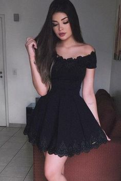 chic party dresses, cheap a-line fashion dresses, cheap black homecoming dresses.