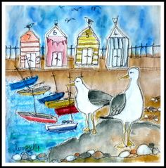 Beach huts and gulls by Loopy.