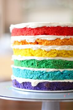 Rainbow Cake Stack. Recipe for Swiss Meringue Buttercream