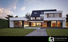 Rendered white contemporary extension
