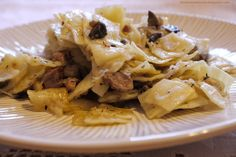 """Polish food: Łazanki - """"Homemade pasta, fried cabbage and other vegetables served with pork. Slovak Recipes, Hungarian Recipes, Russian Recipes, Russian Foods, Ukrainian Recipes, German Recipes, Pasta Dishes, Food Dishes, Main Dishes"""