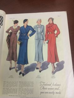 Pictorial Review Fashion Book, Autumn 1932 featuring Pictorial 6168 (from Vera Borea), 6151 (from Lanvin), 6181 (from Vera Borea) and 6184 (from Chantal)