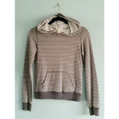 F21   Striped Pull-Over Hoodie Blue-gray & white striped pull-over hoodie. Excellent condition. Second photo shows where I had to sew the pocket a little bit. Other than that, no other flaws. French terry cotton makes it super comfortable. Size small, TTS. Could fit an x-small for a little loose fit. Price reflects condition. Price is firm. No trades. Forever 21 Tops Sweatshirts & Hoodies
