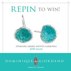Re-pin to win these Sterling silver and Apatite geode earrings from New Orleans Jewelry Artist, Dominique Giordano!!!!!