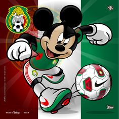 Mexico Soccer Mickey by jpnunezdesigns on DeviantArt Mickey Mouse Y Amigos, Mickey Mouse And Friends, Mickey Minnie Mouse, Disney Mickey, Mickey Mouse Wallpaper, Disney Wallpaper, Arte Disney, Disney Love, Disney Stuff