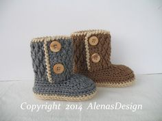 Crochet Pattern 107  - Two-Button Toddler Booties Brown Booties Boy Girl Winter Booties Slippers Grey Boots Toddler Child Crochet Pattern