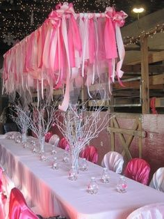 Love the Pink Party Streamer chandelier- looks like a tutu! <3 for my Ballerina Birthday Party!