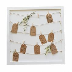 Wooden peg, string and tag frame alternative guest book table plan rustic country . Rustic Wedding Showers, Rustic Wedding Guest Book, Wedding Book, Wedding Cards, Guest Book Table, Guest Book Sign, Guest Books, Cadre Photo Polaroid, Book And Frame
