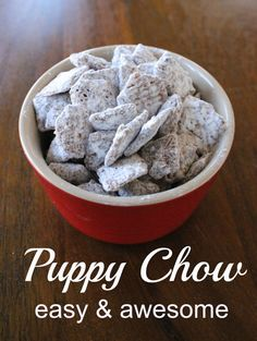 Puppy Chow – A chocolate, peanut buttery, sweet treat!    When I microwaved the chocolate and peanut butter, the consistency was too thick.  So, I added heavy cream to get it smoother.  It worked perfectly.
