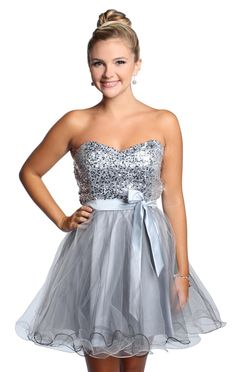 silver strapless sequin homecoming dress with satin bow