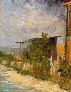 """PARIJS juli-sept. 1887 / weggetje op montmartre met zonnebloemen / Vincent Van Gogh    """"Cobertizo en Montmartre con girasoles"""""""