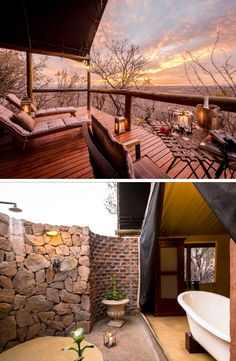 Come kick back and relax at this exquisite game lode in Limpopo ─ you'll be spoiled with spectacular sunsets, outside showers and luxury facilities. Outside Showers, Game Lodge, Tents, Lodges, Holiday Fun, Sunsets, Bathroom Ideas, The Outsiders, Deck