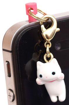 Kutusita Nyanko white cat mobile phone plug jack charm