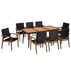 vidaXL Outdoor Dining Set 7 Piece Poly Rattan Black and Brown Table Chairs Dining Table Legs, Table And Chairs, Dining Chairs, Rattan Garden Furniture, Outdoor Furniture Sets, Furniture Sale, Metal Table Frame, Dining Table Dimensions, Solid Wood Table Tops