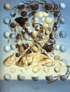 Galatea de la Esferas- Salvador Dali. Obra de las más representativas de la época místico-nuclear. Es fruto de un Dalí apasionado por la ciencia y por las teorías de la desintegración del átomo. El rostro de Gala está conformado por un escenario discontinuo, fragmentado, densamente poblado de esferas, que en el eje de la tela adquieren una visión y una perspectiva tridimensionales prodigiosa