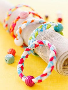 Kids can make armloads of these cool crepe paper bangles for Mom, grandmothers, teachers, and others.