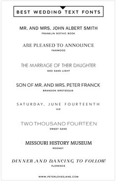 ☆ 8 Best Text Fonts for Wedding Invitation