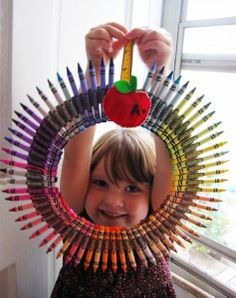 I love this wreath.  Instructions how to make it here - http://www.littlecrunchy.com/2012/09/school-time-wreath.html#