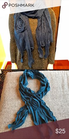 """Beautiful deep blue scarf This gorgeous scarf drapes beautifully around your neck, and the color is my personal favorite shade of deep blue! Made of 70% acrylic, 30% viscose, it measures 6' 6"""" tip to tip. Accessories Scarves & Wraps"""