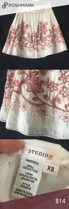 Studio M embroidered skirt. Studio M by Max studio. Cotton skirt.  Embroidered all around. Side zip. Size XS. White with blush pink embroidery. Lined. EUC Studio M Skirts