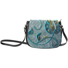 Gold Turquoise Jacobean Floral Needlepoint Classic Saddle Bag/Small (Model 1648)