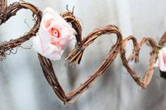 Wedding Garland Hearts & Roses, Rustic Decorations, Reception Decor, 25ft on Etsy, $175.00