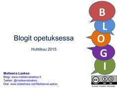 Diasarja esittelee blogien opetuskäyttöä. Esillä ovat Blogger ja Tampereen oma WordPress sekä lyhyesti muutamat blogeihin linkittyvät somen välineet. Diasarjas… Wordpress, Teaching, Education, Twitter, Onderwijs, Learning, Tutorials