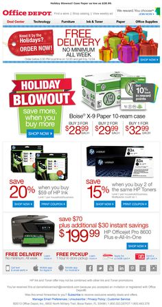 Office Depot holiday email 2013
