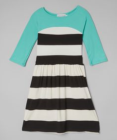fiveloaves twofish Mint Tween Lines Dress - Girls | zulily