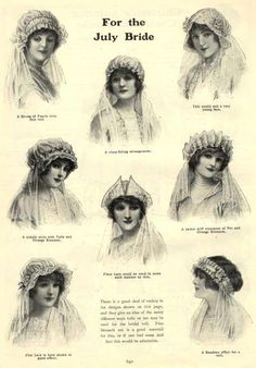 ๑ Nineteen Fourteen ๑ historical happenings, fashion, art & style from a century ago - Bridal headdresses from the Girl's Own Annual, 1914 Wedding Pics, Wedding Styles, Wedding Dresses, Bridal Gowns, Bridal Headdress, Portraits, Fashion History, Fashion Art, Ladies Fashion