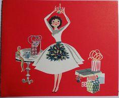 1950s Mid Century Modern Girl Hangs Mistletoe Vintage Christmas Card