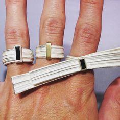Marion Lebouteiller - Sterling silver, recycled 18ct yellow gold and black tourmaline crystals rings