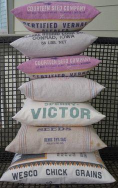 Rustic Decor  Vintage Grainsack Pillow  Wesco by catnapcottage