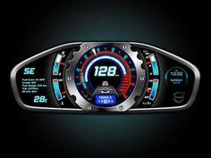 Volvo UI designed by Russ Schwenkler. Car Gauges, Cx 500, Car Ui, Honda Scrambler, Tokyo Design, R80, Dashboard Design, Pontoon Boat, Dashboards