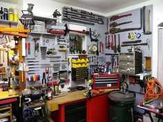 See more ideas about Garage tools, Garage workshop and Man cave garage. From woodworking to metalworking and beyond, discover the best garage workshop ideas. Garage Wall Storage, Garage Storage Solutions, Tool Storage, Pegboard Garage, Workshop Organization, Garage Organization, Organization Ideas, Organizing, Organized Garage