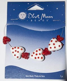 Blue Moon Beads, Glass Hearts Red/White 10-16mm (7) at Sova-Enterprises.com Lots of Free Beading Patterns and Tutorials are available!