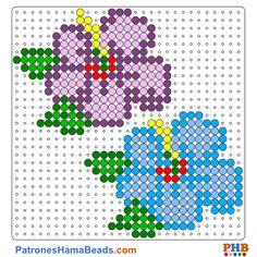 Flores plantilla hama bead. Descarga una amplia gama de patrones en formato PDF en www.patroneshamabeads.com