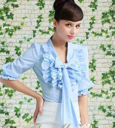 Morpheus Boutique  - Blue Designer Royal Vintage Lady Ruffle Bow Collar Shirts