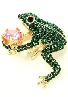Crystal Green Frog Brooch