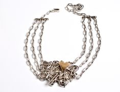 Rare sterling Silver & Gold unique hand forged necklace designed by Claes Giertta Gothenburg Sweden c.1970