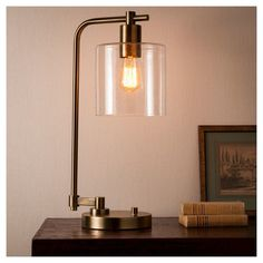 Add both modern and industrial style to your desk with the Hudson Industrial Desk Lamp from Threshold. The metal table lamp pairs perfectly with the glass shade for a true industrial look, and the… Cafe Industrial, Vintage Industrial Furniture, Vintage Lamps, Industrial Lighting, Vintage Lighting, Industrial Closet, Industrial Bookshelf, Industrial Apartment, Industrial Bedroom