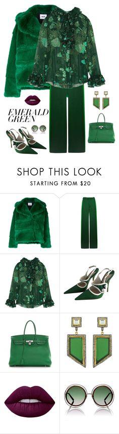 """Emerald Green"" by kotnourka ❤ liked on Polyvore featuring MSGM, Valentino, Anna Sui, Miu Miu, Hermès, Meghna Designs, Lime Crime, Chloé and emeraldgreen"
