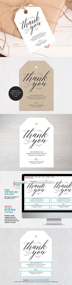 Thank You Tag. Invitation Templates. $8.00